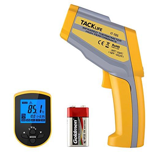 [Amazon] Professional Digital Infrarot Thermometer Dual Laser Thermometer -50 °C ~ 550 °C mit Hoch- / Nieder temperatur Alarm, Einstellbarem Emissionsgrad & Max / Min / Avg Measure