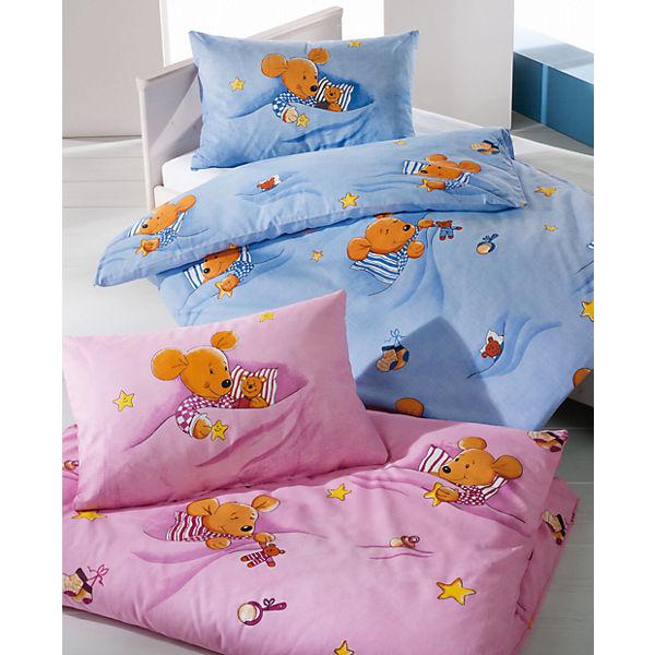 3 Bettwäsche Sets für Kinder 'Kuschelmaus' in blau (100x135cm und 40x60cm) für 21,82€ inkl. VSK = 7,27€ pro Set bei [mytoys]