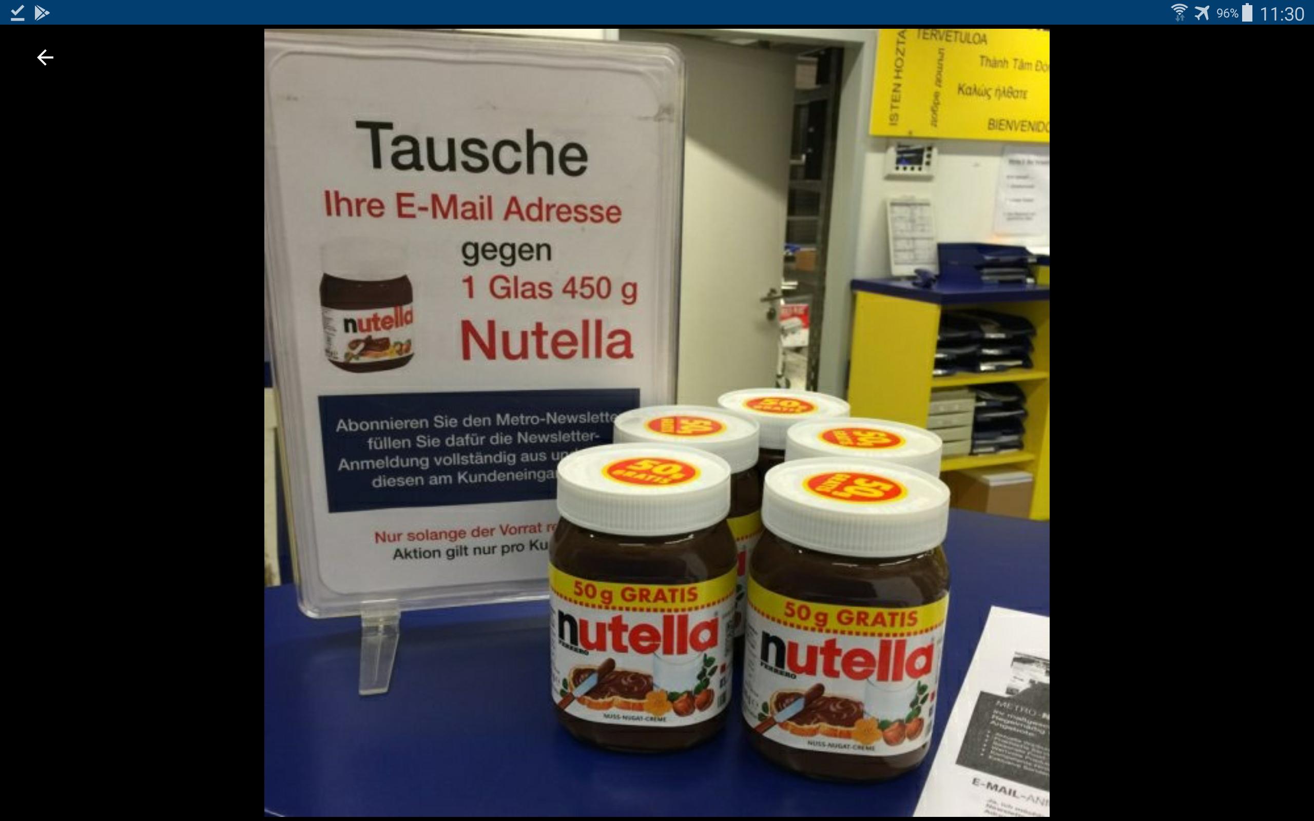 [Lokal Frankfurt Metro Markt Riederwald] Nutella 450 g Glas gegen Email