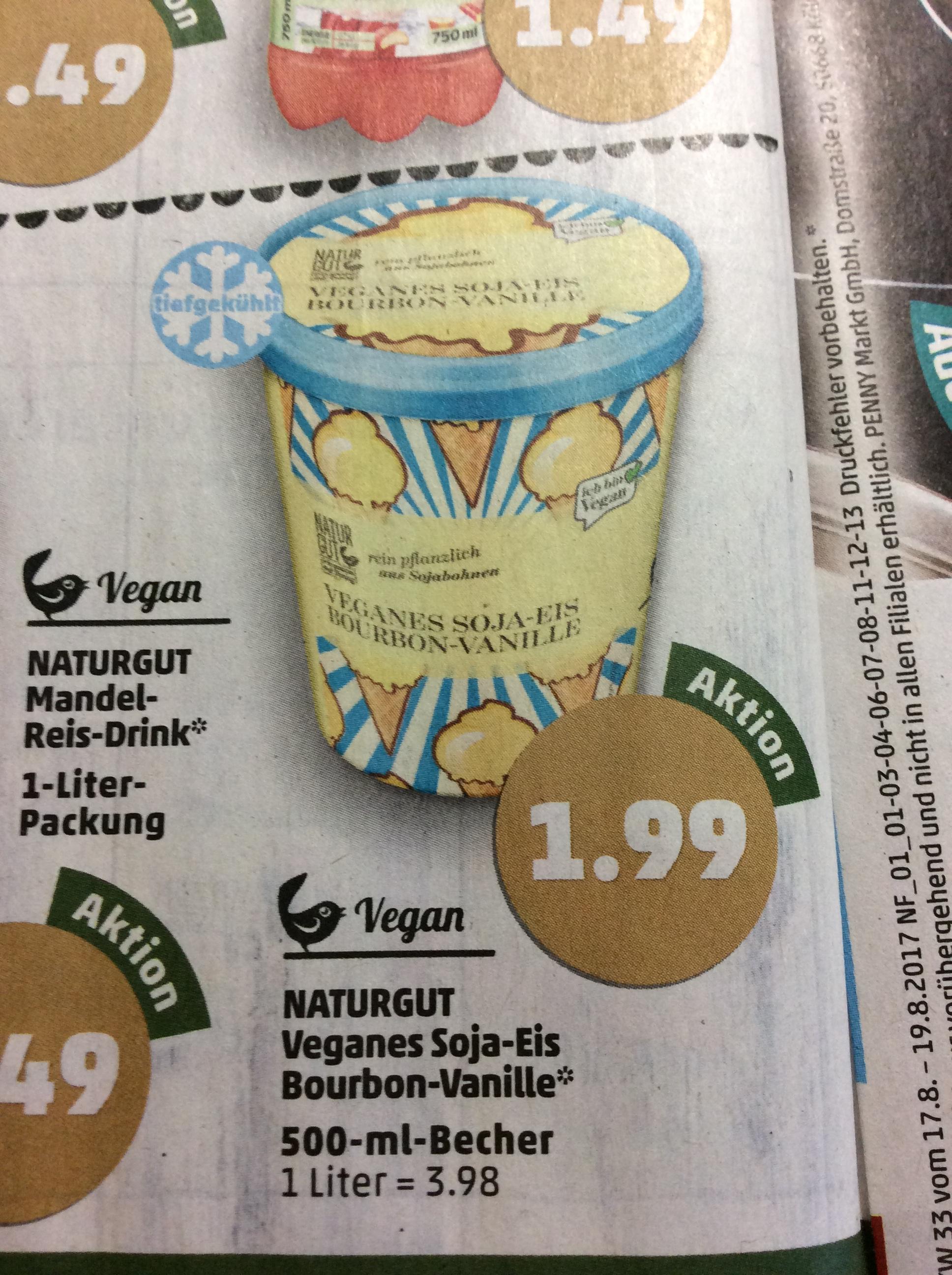 Naturgut Veganes Soja Bourbon Vanille Eis 500ml für 1,99€