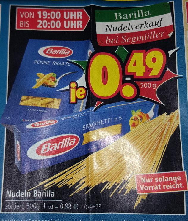 Barilla Nudeln versch. Sorten 500g für 0,49€ (nur heute von 19-20 Uhr bei Segmüller Weiterstadt