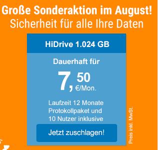 Strato HiDrive - Sonderaktion 1TB 7,50€mtl. inkl. Protokollpaket