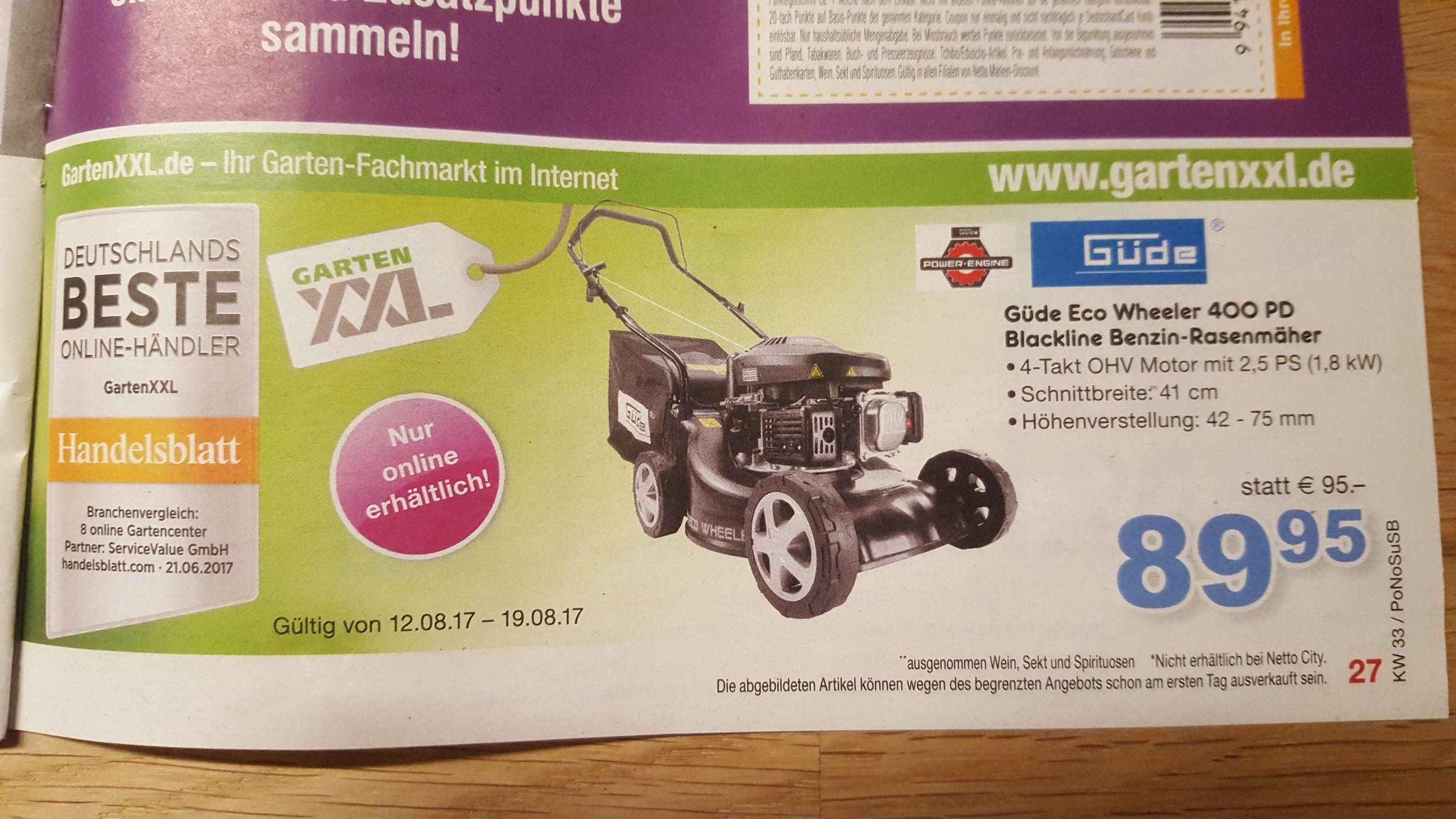 Ab 12.08.17 bis 19.08.17 Güde Eco Wheeler 400 PD Benzin-Rasenmäher bei GartenXXL.de für 69.95 Euro