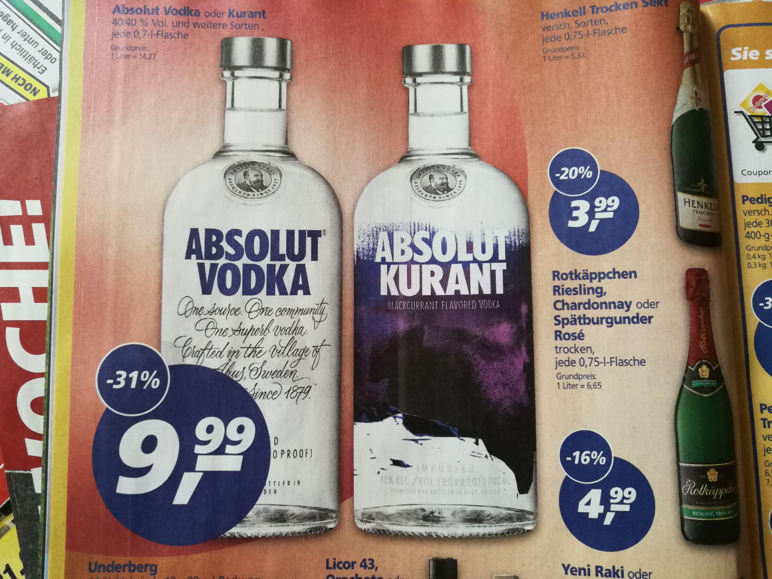 Absolut Vodka 9.99 Euro bei Real vom 14.08 bis 19.08 (Alle Sorten natürlich)