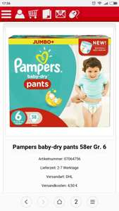 Pampers Baby Dry Pants Gr. 6 (58er)[Thomas Philips Lokal ab dem 14.08]