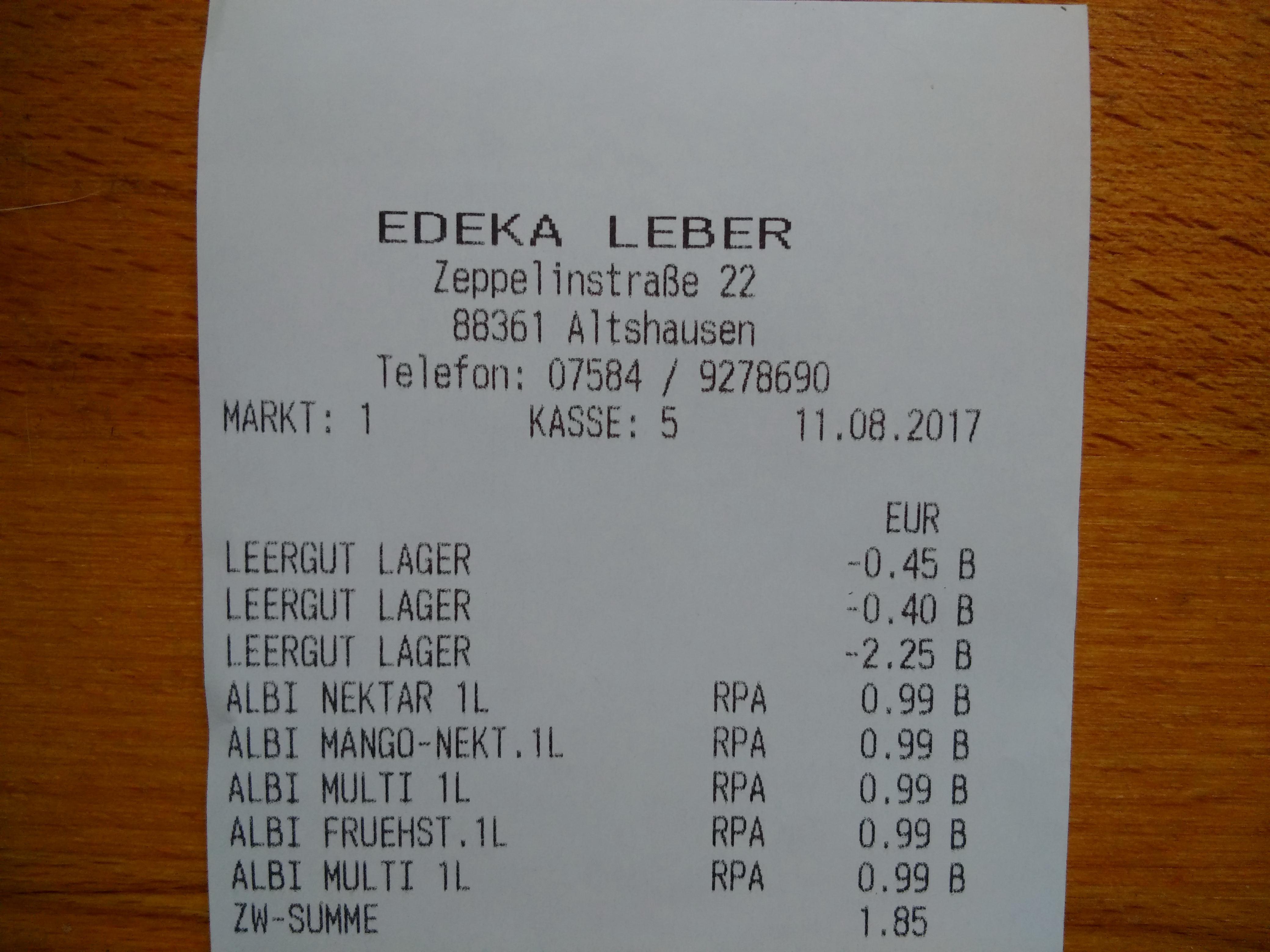 [ Lokal ] EDEKA Leber in Altshausen ALBI Fruchtsäfte