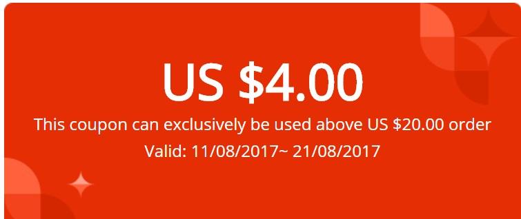 4$-Gutschein mit 20$ Mindestbestellwert für Neukunden bei [Aliexpress]