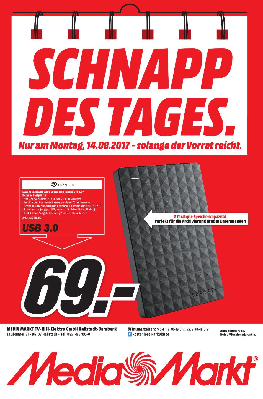 [Lokal Mediamarkt Hallstadt-Bamberg/ Tagesangebot am 14.08] SEAGATE Expansion Portable Rescue Edition STEA2000200, Externe Festplatte, 2 TB, 2,5 Zoll für 69,-€