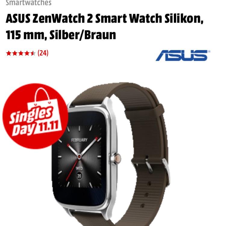 [Mediamarkt] Asus Zenwatch 2 Smartwatch silber/braun (Android & iOS) für 79€