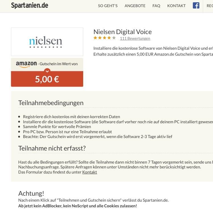 Nielsen Digital Voice 5€ von Nielsen + 5€ von Spartanien