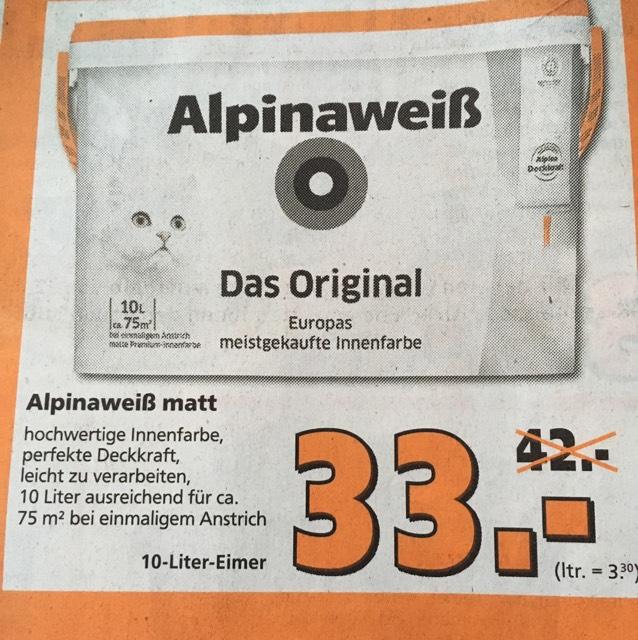 [Globus Baumarkt] Alpinaweiß Das Original 10L