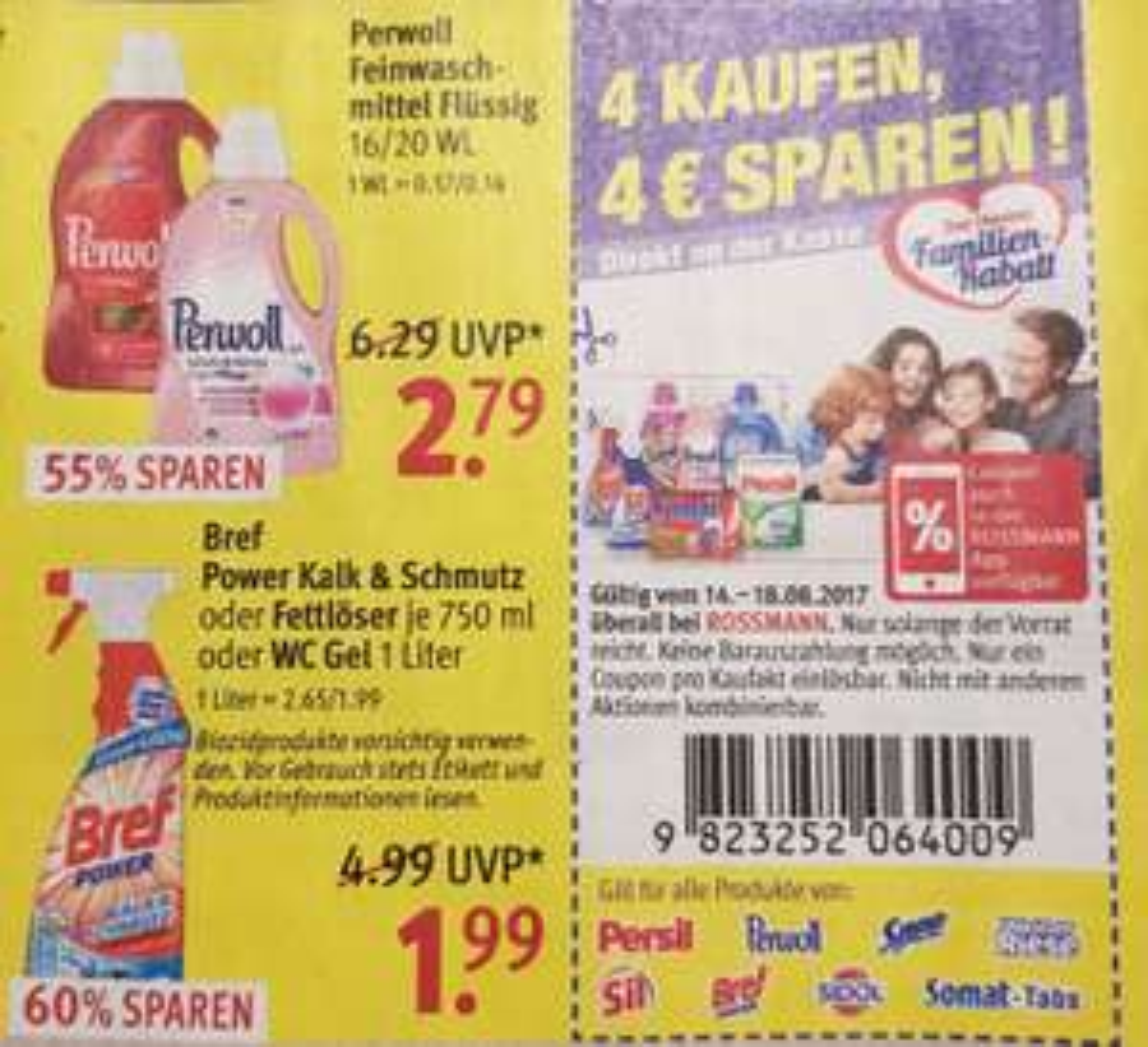 4x Flaschen Bref Power Kalk & Schmutz oder Fettlöser für 3,56€