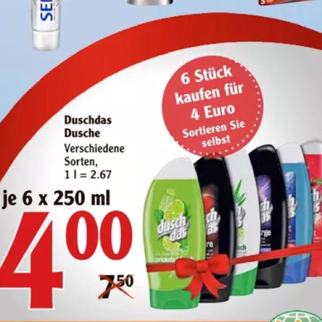 6x Duschdas für 3€ / 3,44€ bei Globus