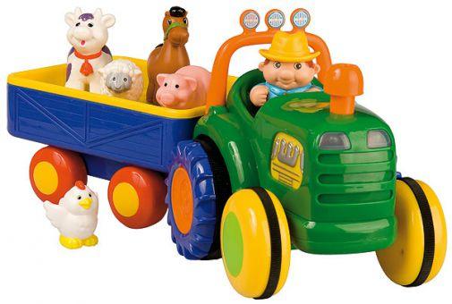 (mifus.de) Kiddieland Traktor mit Anhänger und Bauernhof-Tieren