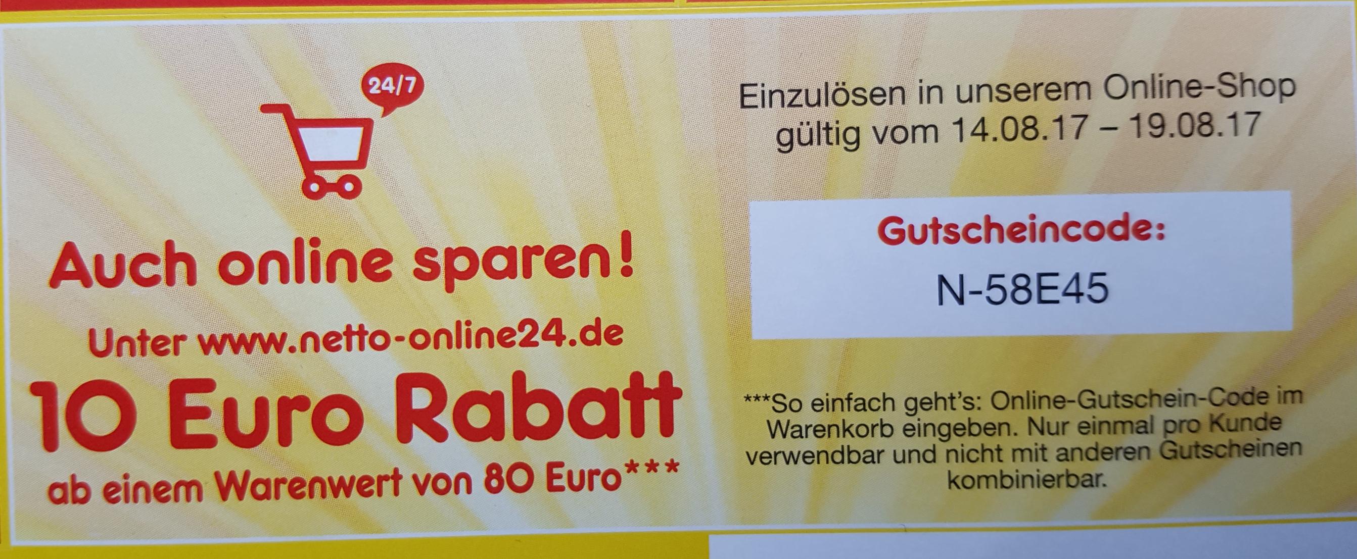 [Netto - online] 10€ Gutschein ab 80€ MBW