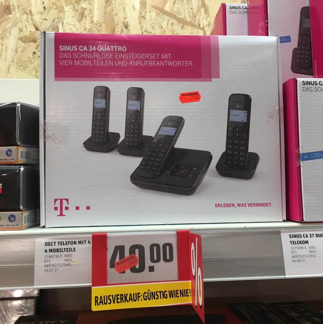 [lokal Bielefeld Rewe Center Bab.] Sinus ca34 Quattro Schnurlostelefon mit Anrufbeantworter (DECT) für 25€; idealo: 48€