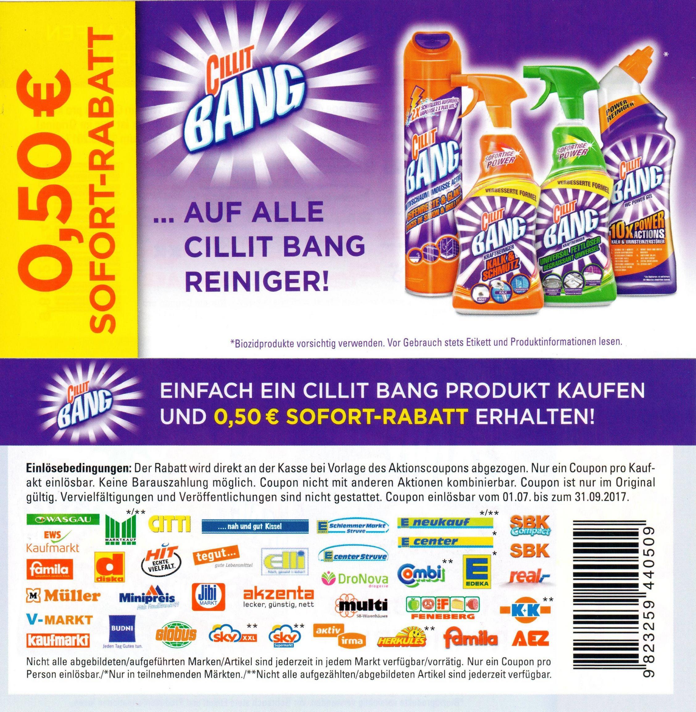 0,50€ Sofort-Rabatt-Coupon für Cillit Bang (alle Reiniger) bis 30.09.2017 [Bundesweit]