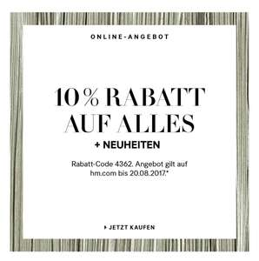 10 % auf alles bei H&M online