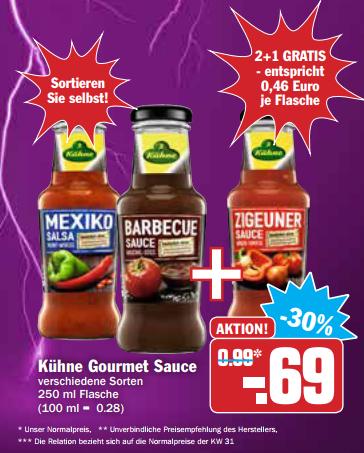 3x Kühne Gourmet Sauce versch. Sorten 250ml für 1,38€ = 0,46€/Flasche [HIT+AEZ] am 17.08.2017