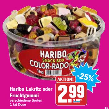 Haribo Fruchtgummi versch. Sorten 1000g für 2,99€ bei AEZ+HIT am 17.08.17