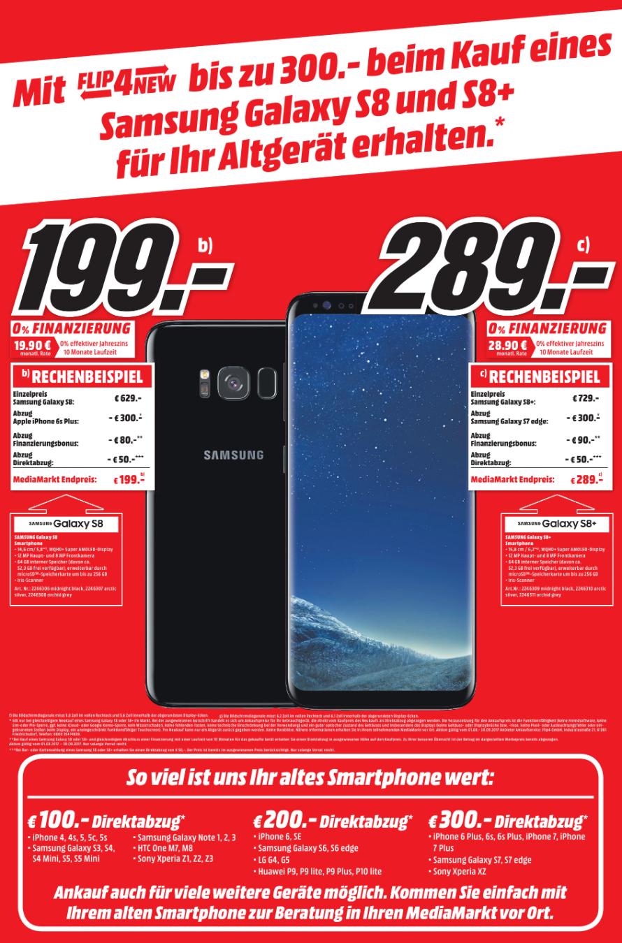 (lokal MM Lu-Oggersheim) Samsung S8 für 199€ und S8+ für 289€ mit Altgerät Abgabe und Finanzierung + Direktabzug