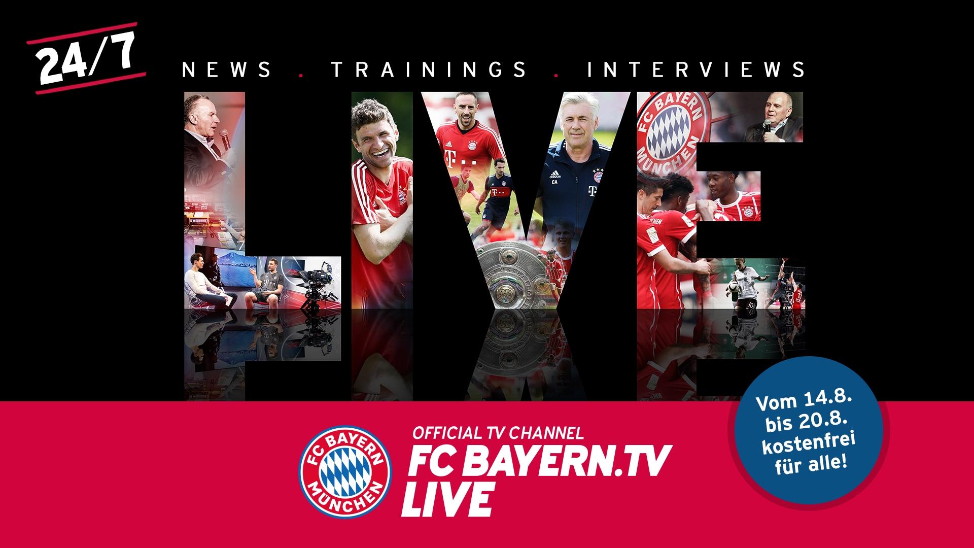 FC Bayern.tv live: Vom 14. bis 20. August frei empfangbar für alle