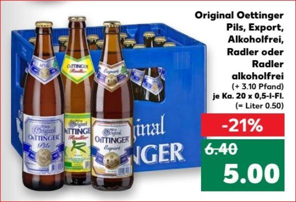Oettinger Pils, Export, Alkoholfrei, Radler oder Radler alkoholfrei, der Kasten für 5 Euro [Kaufland]