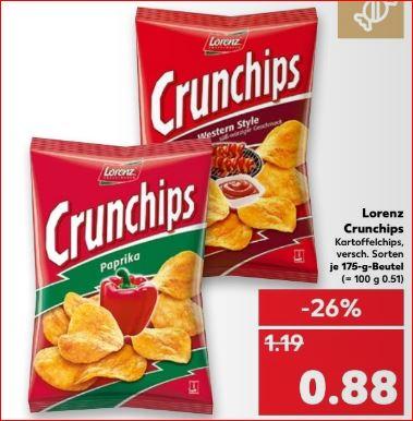 Lorenz Crunchips, verschiedene Sorten, die Packung für 0,88 Euro [Kaufland]