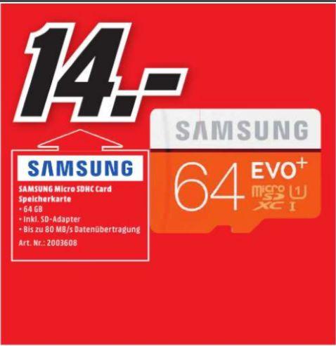 [Lokal Mediamarkt Aschaffenburg] Samsung Speicherkarte MicroSDXC 64GB EVO Plus UHS-I Grade 1 Class 10, mit SD Adapter für 14,-€