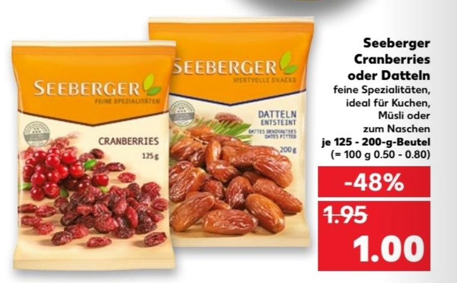 [Kaufland bundesweit ab 17.08]  Seeberger Cranberries (125 gr) oder Datteln (200 gr)  für 1 €
