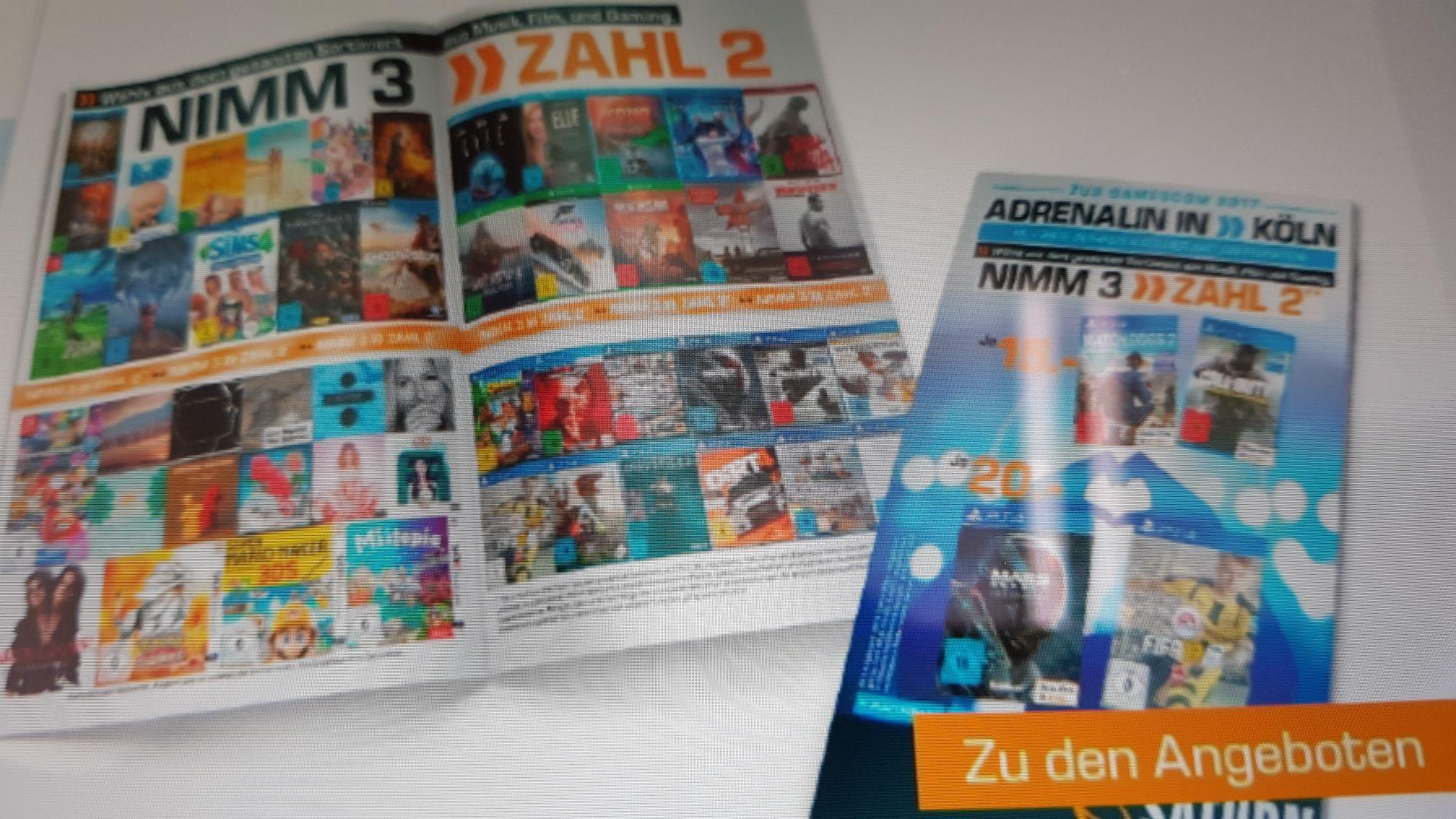 [Lokal Köln] Gamescom viele Titel u.a. Saturn Watchdogs 2 Infinite Warfare für je 15 EUR (FIFA 17 + MASS Andromeda + UFC 2 je 20 Euro) XBox one und PS4 zusätzlich 3 für 2 auf Games, Film und Musik