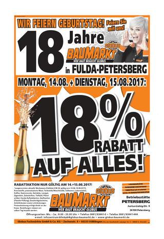 """[Lokal Fulda] [Globus] """"18% Auf alles"""""""