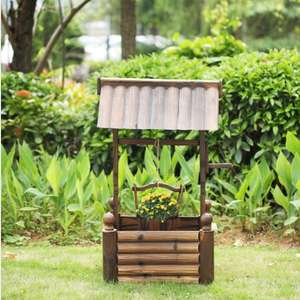 Lovdock FlashSale iKayaa Wooden Wishing Well Patio Garten Pflanzer für 32,62 Euro