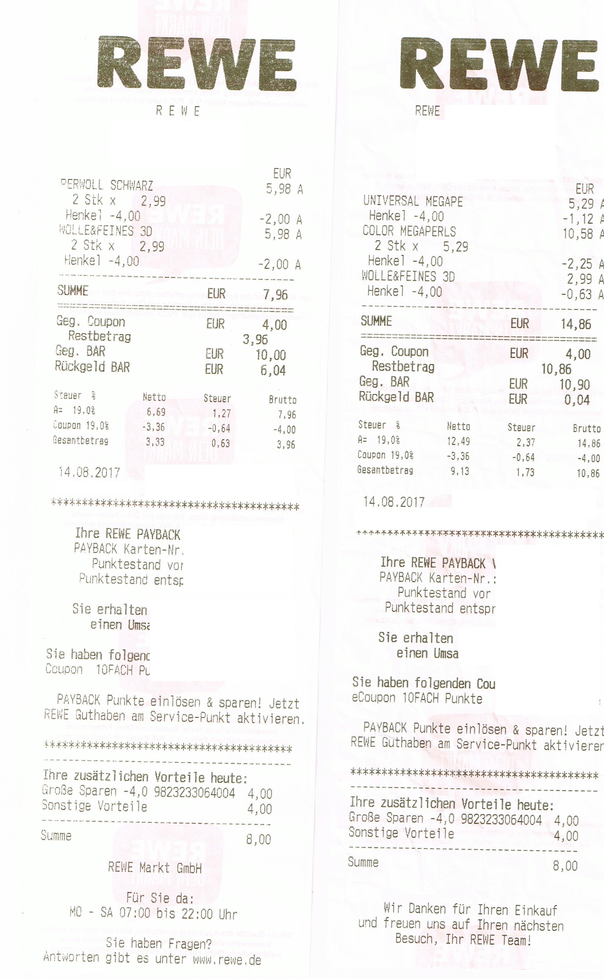 [REWE] 4x Perwoll für 3,96€/0,99€ stk/ 4x Persil 20WL für 13,16€/3,29€ mit Coupons