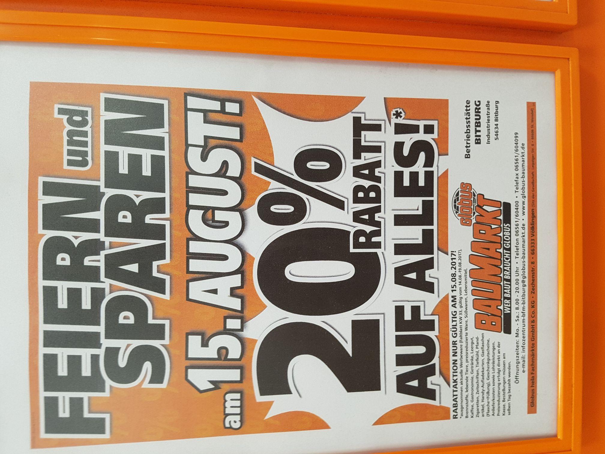 20% Rabatt im Globus Baumarkt Bitburg