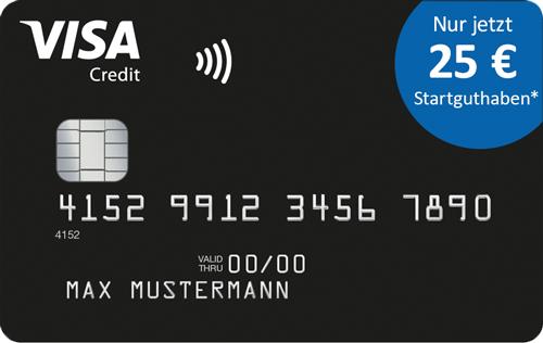 25€ Startguthaben für dauerhaft grundgebührfreie Visa Card Deutschland-Kreditkarte