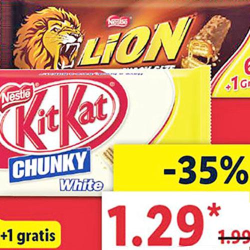 KitKat Chunky White! / KitKat und Lion statt 1,99€  für nur 1,29€ bei (Lidl)