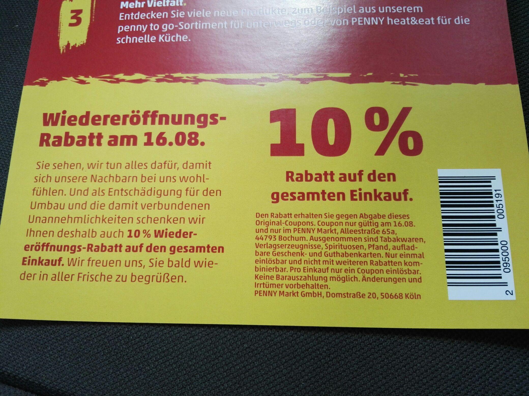 Penny Bochum Alleestr. 10% Rabatt nur Heute