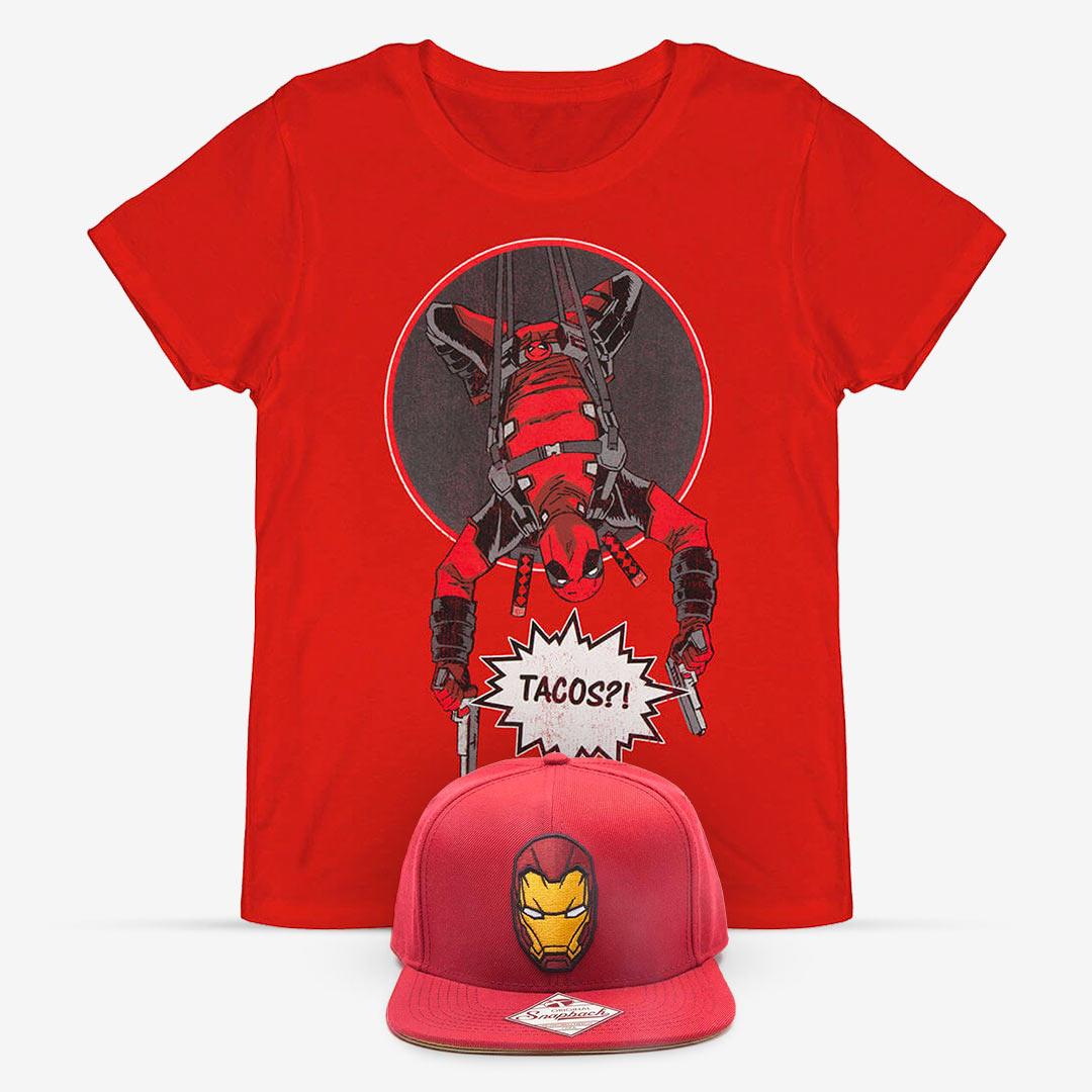 Captain America (Iron Man) Basecap und Deadpool T-Shirt für zusammen 11,98€ inkl VSK