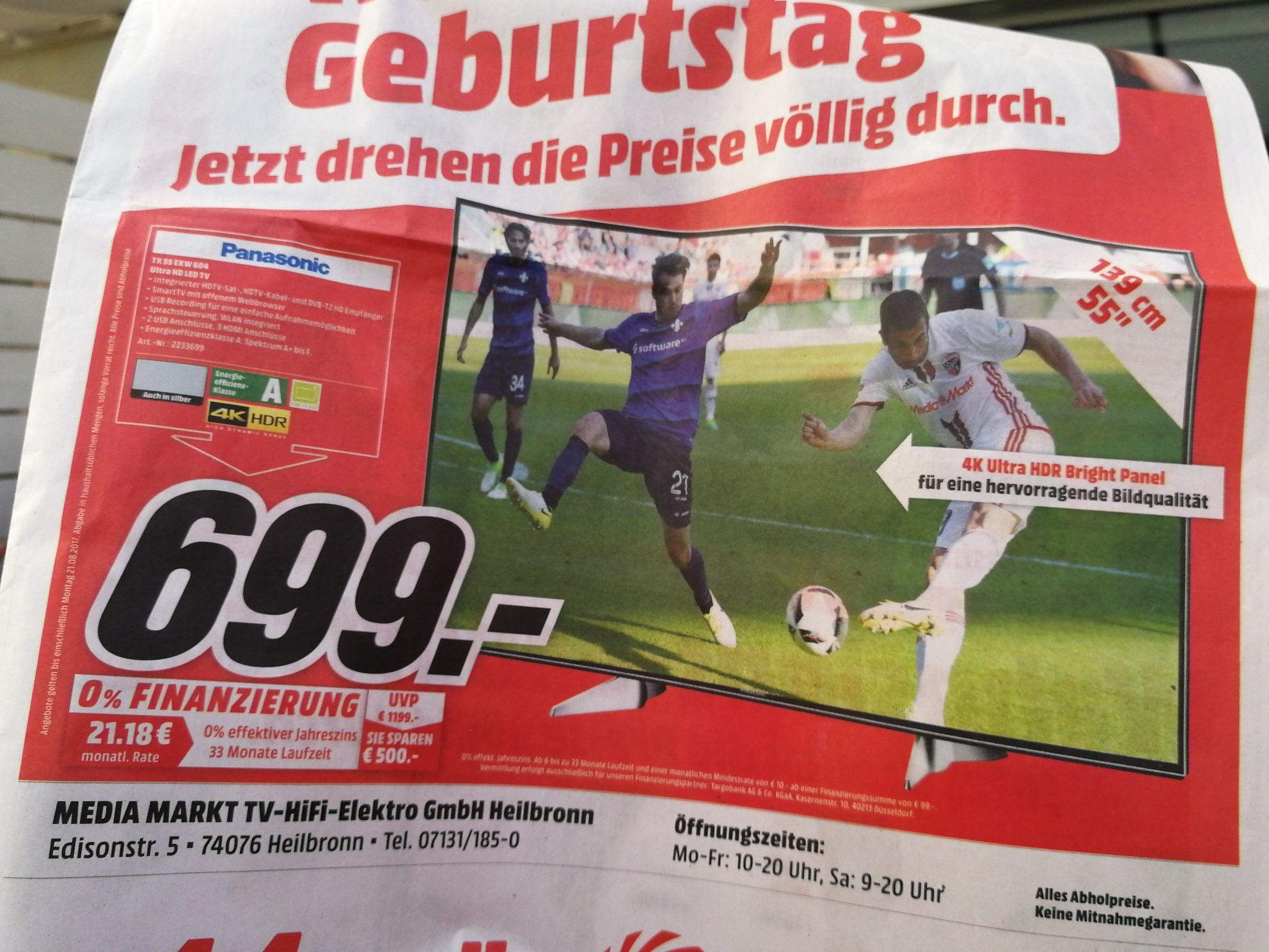 699,00€  Panasonic TX 55 EXW 604 Media Markt Heilbronn