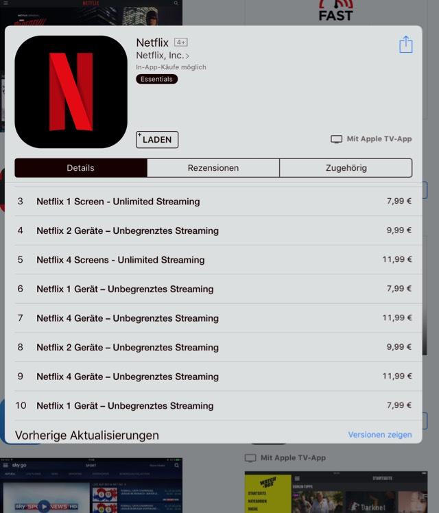 20% auf euer Netflix Abo über Apple In-App-Käufe