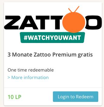 3 Monate Zattoo HiQ bei Lieferando ( 10LP )