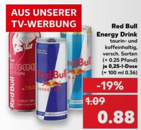 Red Bull 0,25l ab 24.08. bei Kaufland