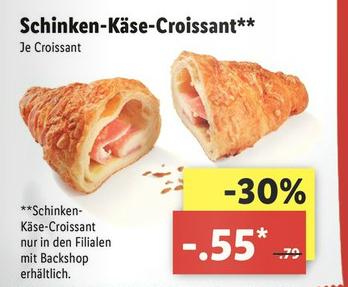 [Lidl] Schinken-Käse-Croissant (ab 21.8 für 0.55€ statt 0.79€)