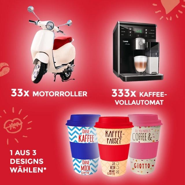 Giotto-Sommergewinnspiel mit Packungscodes für gratis Kaffeebecher
