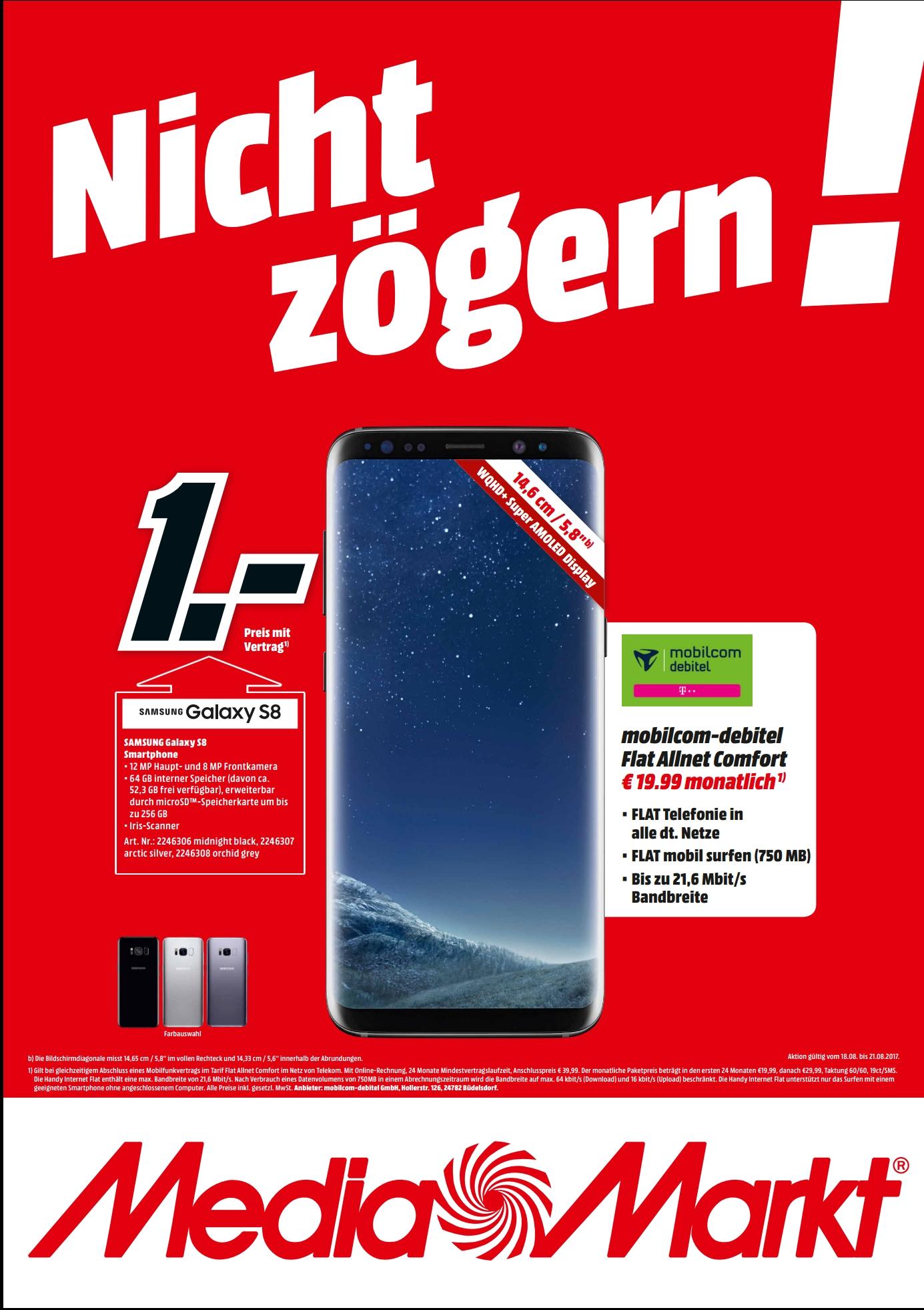 Schnapp des Tages - S8 mit Allnet Flat mtl. 19.99€ für 1€