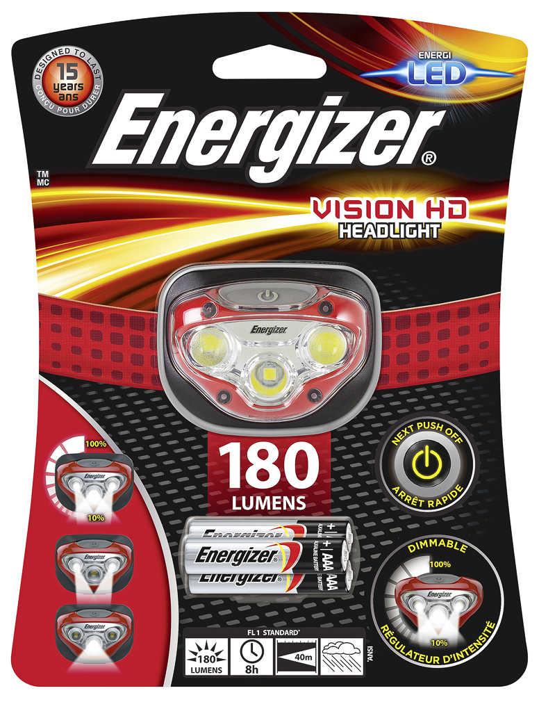Energizer Stirn-/Kopflampe Vision HD mit 180 Lumen (dimmbar) für 5.99 Euro [Kaufland / nicht in allen Filialen erhältlich]