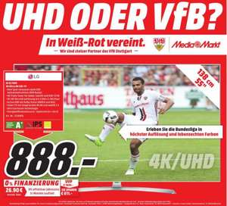 [Media Markt] lokal Stuttgart & Umgebung LG 55UJ7509 LED TV (Flat, 55 Zoll, UHD 4K, SMART TV, webOS) A+
