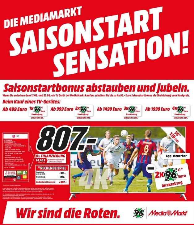 Saisonstart / TV Aktion @ MM Hannover - zwischen 96-384 € Direktabzug (Kaufpreis 499 bis 1999 €) bei Kauf eines TV (in 96er Schritten)