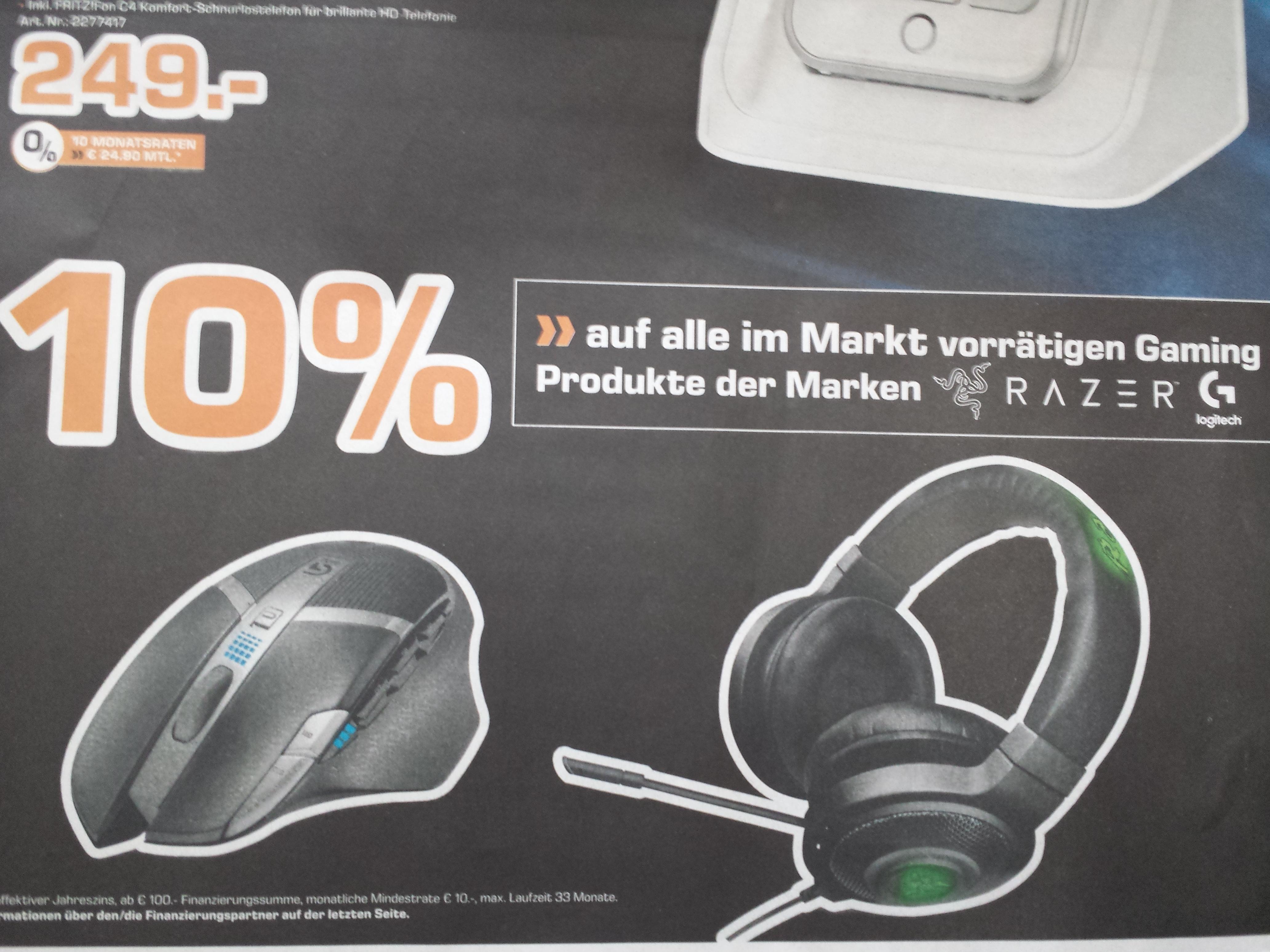 [LOKAL Saturn Karlsruhe] 10% Rabatt auf alle Gaming Produkte der Marken Razer & Logitech